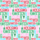 Personalised Name Fabric - Christmas Trees Pink and Aqua
