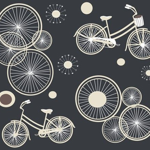 bicycles and wheels in gray / blue