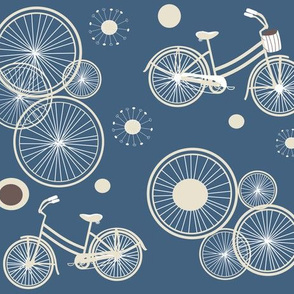 bicycles and wheels in brighter blue
