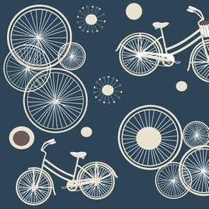 bicycles and wheels in blue