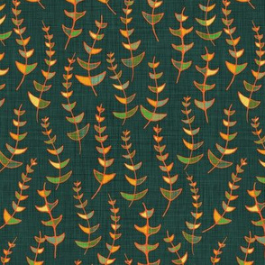 Retro Leaves on dark blue