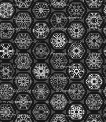 snowflake mini-ornaments on charcoal