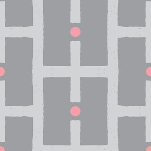 squares and dots-grey/pink