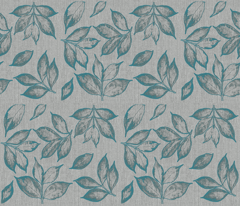 burlap teal leaves fabric by mypetalpress on Spoonflower - custom fabric