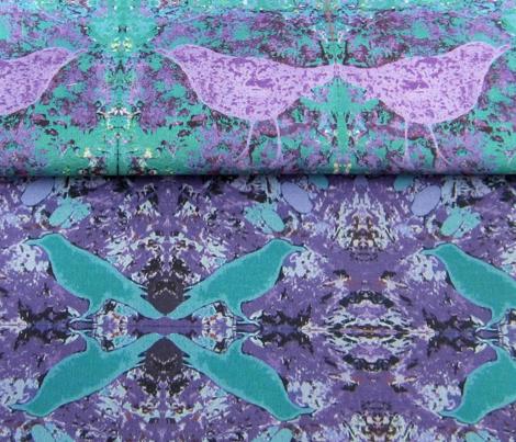 Hidden Bird on Lilac and Teal