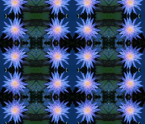 Blue Lotus Liliy fabric by bohemianmermaid on Spoonflower - custom fabric