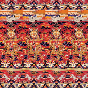 royal orange novelty thrones embroidery asian japanese china chinese oriental cheongsam kimono dragon cranes birds sea ocean imperial chinoiserie fire kings queens museum traditional rank regal korean kabuki geisha yuan ming qing dynasty tapestry vintage