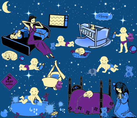 PRAYING FOR BEDTIME fabric by bluevelvet on Spoonflower - custom fabric