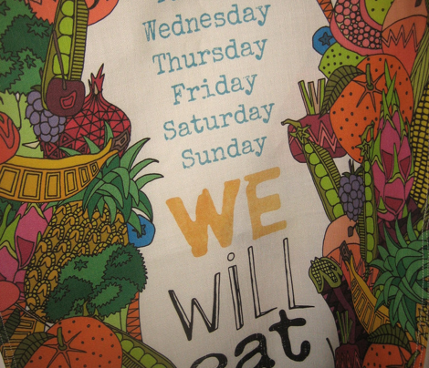 we will eat rainbows tea towel