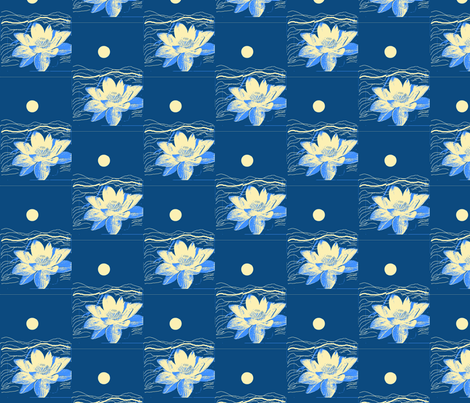 Moon And Flower/teal fabric by menny on Spoonflower - custom fabric