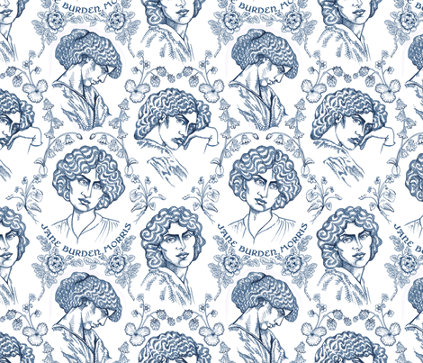 Jane Burden Morris Navy fabric by chantal_pare on Spoonflower - custom fabric