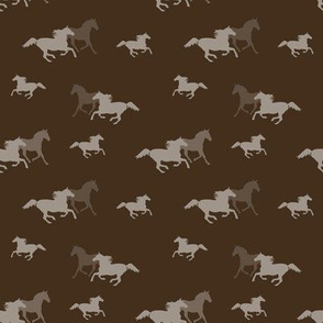 Running Horses On Brown