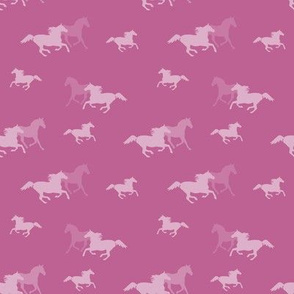 Running Horses On Pink
