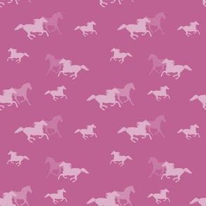 Running Horses On Pink