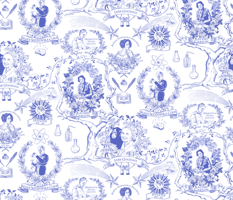 Women of Science and Learning Toile de Jouy fabric by vinpauld on Spoonflower - custom fabric
