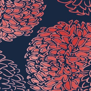 Ming Chrysanthemum in Navy and Coral Pink