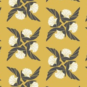 Radial Floral in Ochre & Gray