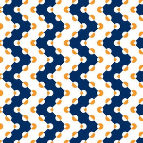 Polka Dot Chevrons Navy Orange
