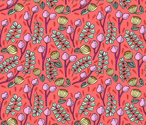 floral on coral