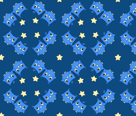 Midnight Owls fabric by jenniferarts on Spoonflower - custom fabric