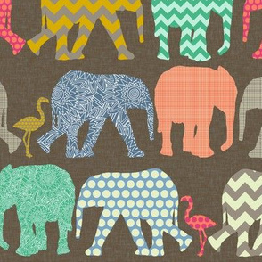 small baby elephants and flamingos dark linen