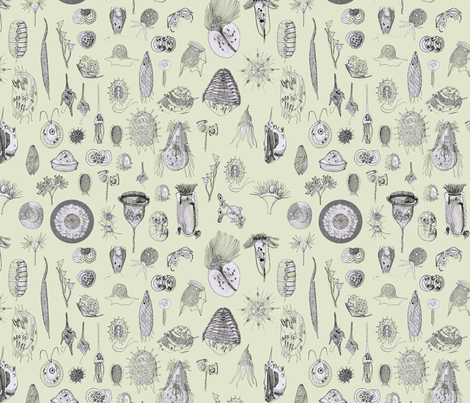 Giant Protozoa Bestiary Light Green fabric by chantal_pare on Spoonflower - custom fabric