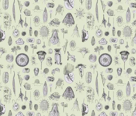 Giant Protozoa Bestiary Light Green fabric by chantal_pare on Spoonflower - custom fabric