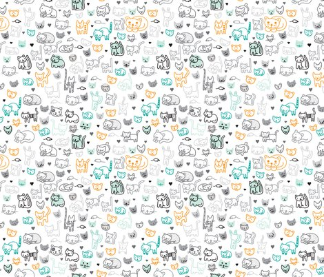 Cute doodle cats and kittens animal print for kids for Animal print fabric for kids