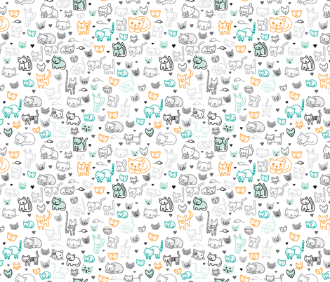 Cute doodle cats and kittens animal print for kids fabric for Animal print fabric for kids