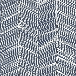 Herringbone White on Navy - Wallpaper