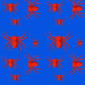 Red Spiders on Blue