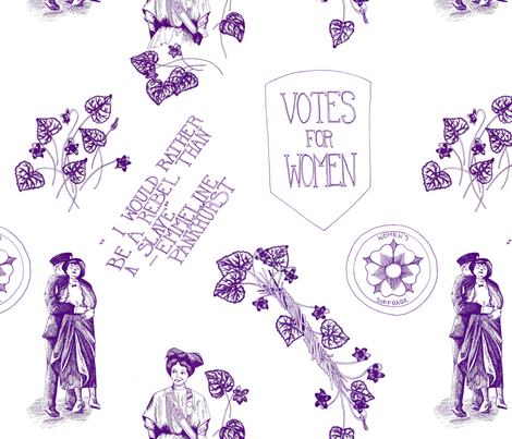A Suffragette Toile fabric by lucky_lucille on Spoonflower - custom fabric
