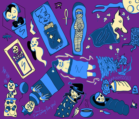 Monster Sleepover fabric by savagelystitched on Spoonflower - custom fabric