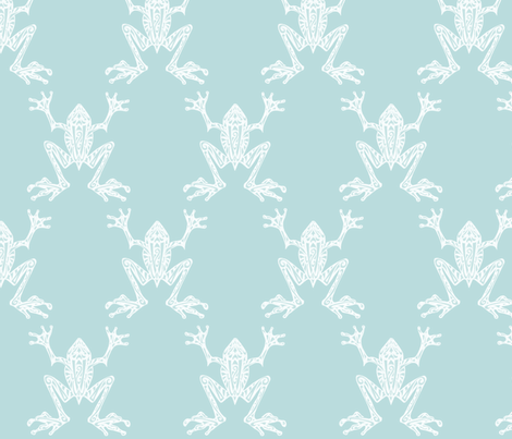 Fabulous Frogs - Vintage Blue/White fabric by lottibrown on Spoonflower - custom fabric