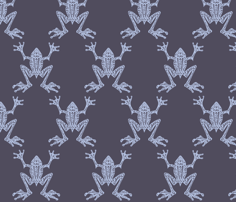Fabulous Frogs - Midnight Blue fabric by lottibrown on Spoonflower - custom fabric