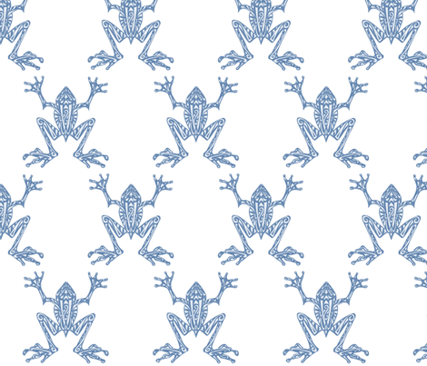 Fabulous Frogs - Soft Blue fabric by lottibrown on Spoonflower - custom fabric