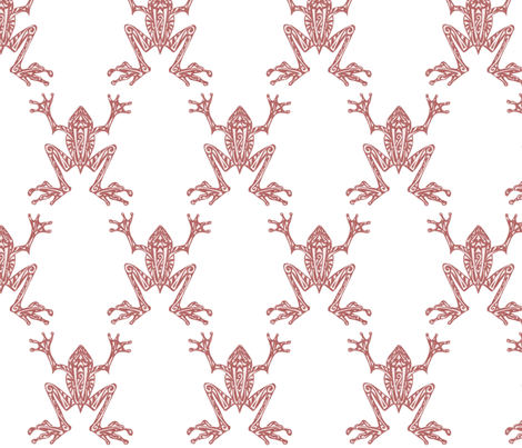 Fabulous Frogs - Soft Red/white fabric by lottibrown on Spoonflower - custom fabric