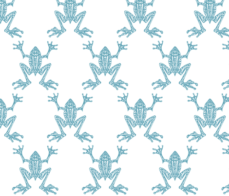 Fabulous Frogs - Soft Teal fabric by lottibrown on Spoonflower - custom fabric
