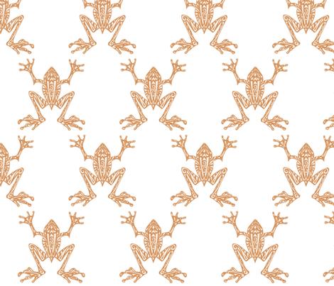 Fabulous Frogs - Soft Orange/White fabric by lottibrown on Spoonflower - custom fabric