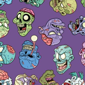 Zombie Heads Purple