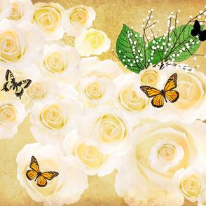 Vanilla Bathing Roses w/Babies Breath-ed-ed