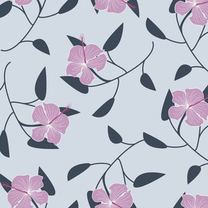 Pink Hibiscus on Light Grey