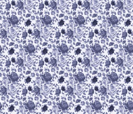 BLUE VINTAGE ROSES fabric by bluevelvet on Spoonflower - custom fabric