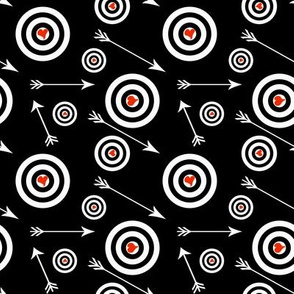 Red hearts in white targets with arrows on black