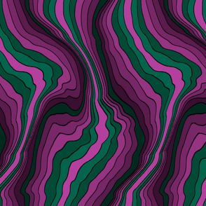 flowing wave - green pink
