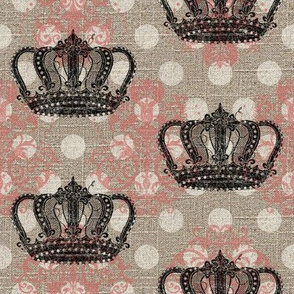 Crowned Damask N' Dots in Pink