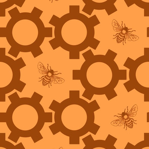 Bees And Gears in Orange & Brown