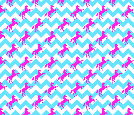 Horse on Chevron Pink Turquoiseopy fabric by lovelyjubbly on Spoonflower - custom fabric