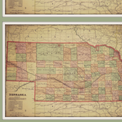 Vintage Nebraska map, FQ
