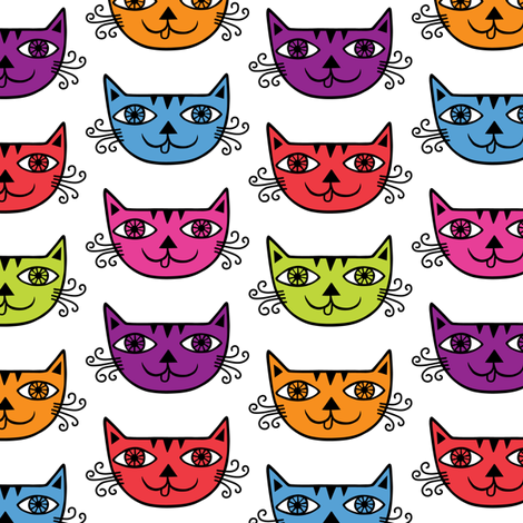 Meow Cat larger fabric by andibird on Spoonflower - custom fabric
